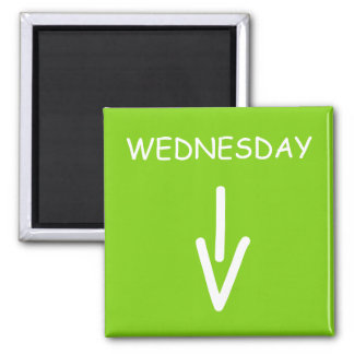 Wednesday Arrow Yellow Green Square Magnet by Janz