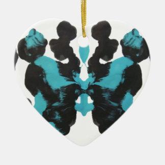 Wednesday Blue Inkblot Design Double-Sided Heart Ceramic Christmas Ornament
