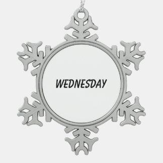 wednesday snowflake pewter christmas ornament
