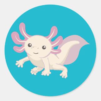 Wee Adorable Axolotl Classic Round Sticker