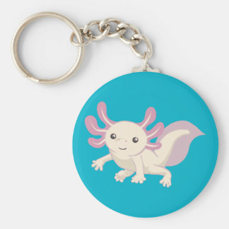 Wee Adorable Axolotl Basic Round Button Keychain