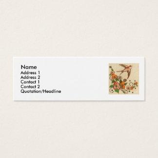 wee bird and flower, Name, Address 1, Address 2... Mini Business Card