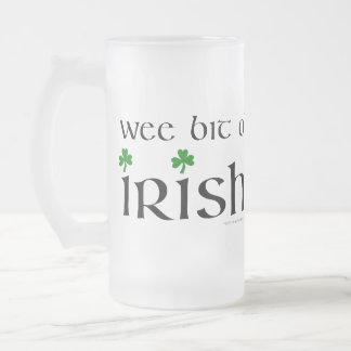 Wee Bit O' Irish Shamrock Frosted Glass Beer Mug