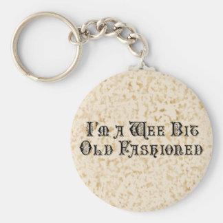 Wee Bit Old Fashioned Basic Round Button Keychain