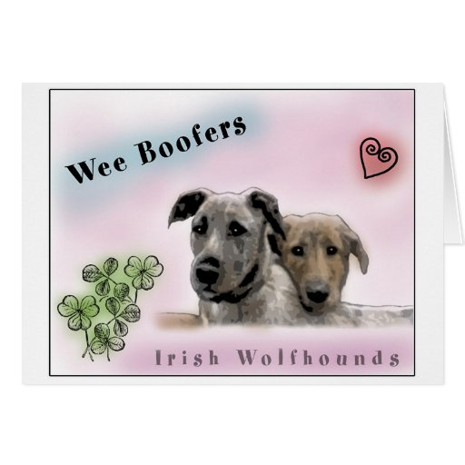 Wee Boofers - Irish Wolfhounds Greeting Cards