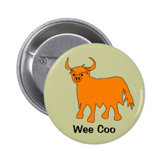 """""""Wee Coo"""" Scottish Highland Cow Button / Badge"""