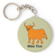 """Wee Coo"" Scottish Highland Cow keychain"