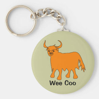 """Wee Coo"" Scottish Highland Cow keychain"