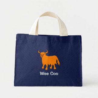 """Wee Coo"" Scottish Highland Cow tote bag design"