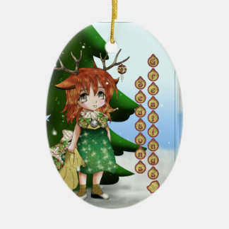Wee Deer Double-Sided Oval Ceramic Christmas Ornament