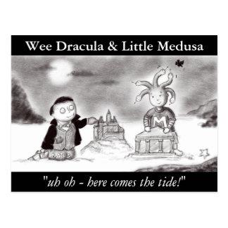 Wee Dracula And Little Medusa Illustration Postcard