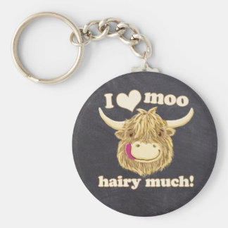 Wee Hamish Loves Moo Hairy Much! Highland Cow Keychain