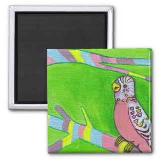 wee pink budgie magnet