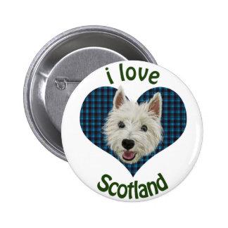 Wee Westie, I Love Scotland 2 Inch Round Button