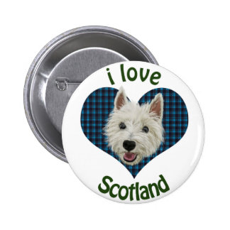 Wee Westie, I Love Scotland 2 Inch Round Button