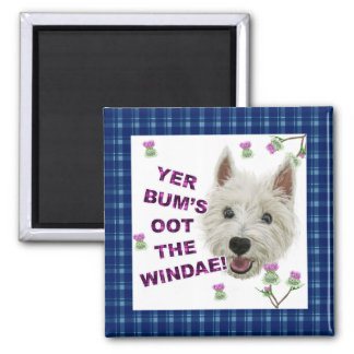 Wee Westie's Words of Wisdom 2 Inch Square Magnet