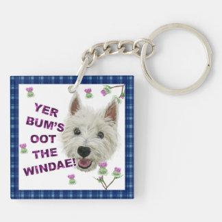 Wee Westie's Words of Wisdom Double-Sided Square Acrylic Keychain