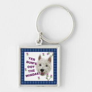 Wee Westie's Words of Wisdom Silver-Colored Square Keychain