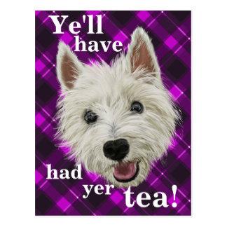 Wee Westie. Ye'll have had yer tea! Postcard