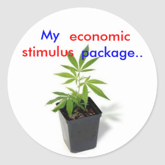 weed[1], My, package.., economic, stimulus Classic Round Sticker