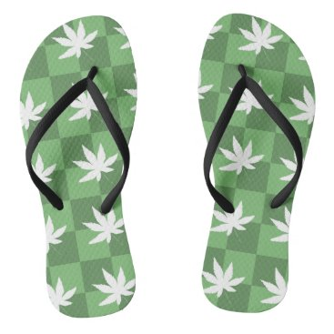 Beach Themed Weed at the Beach Flip Flops