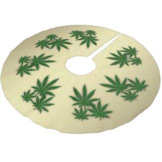 Weed Leaf Brushed Polyester Tree Skirt