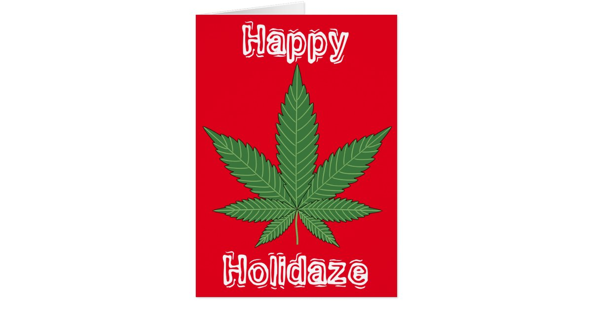 weed leaf christmas happy holidaze card