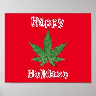 Weed Leaf Christmas Happy Holidaze Poster
