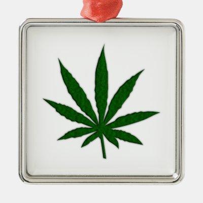 Weed Leaf Square Metal Christmas Ornament