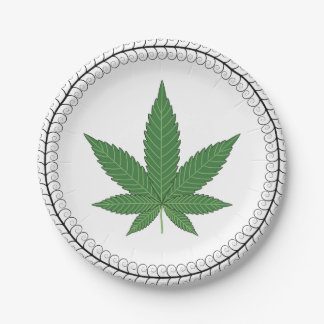 Weed Leaf Tree Swirl Trim Personalized Paper Plate
