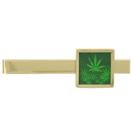Weed Leafs Gold Finish Tie Bar