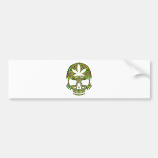 Weed Skull Skeleton Head Bumper Sticker