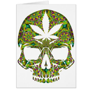 Weed Skull Skeleton Head Card