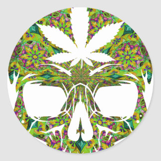 Weed Skull Skeleton Head Classic Round Sticker