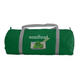 weedhead. (alga marina) texto blanco bolsa de deporte