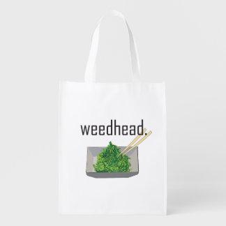 weedhead. (ensalada de la alga marina) bolsa reutilizable