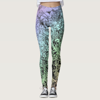 Weeds in a Multicolored Landscape Drawing Leggings