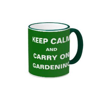Weeds Taking Over Keep Calm Carry On Gardening Ringer Mug