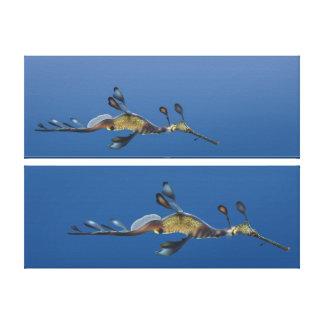 Weedy Seadragon Vector Art Triptych Canvas Print