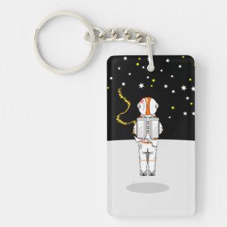 Weeing corto cogido astronauta en espacio llavero rectangular acrílico a doble cara