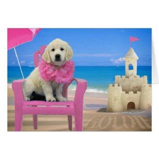 Week 8 - Beach Goldie Greeting Card