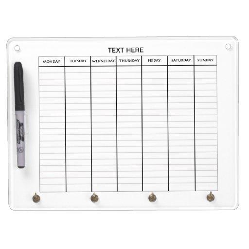 Dry Erase Weekly Calendar Board : Week schedule calendar dry erase board zazzle