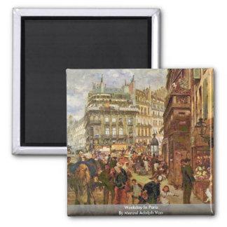 Weekday In Paris By Menzel Adolph Von Refrigerator Magnet