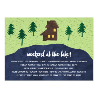 Weekend at the Lake   Rustic Bachelorette Party 5x7 Paper Invitation Card