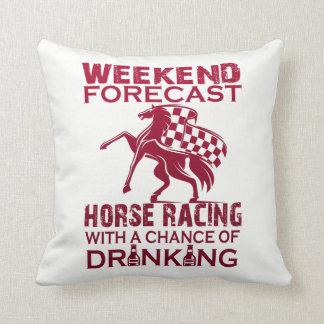 WEEKEND FORECAST HORSE RACING THROW PILLOW