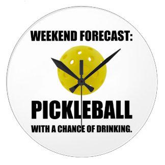 Weekend Forecast Pickleball Drinking Large Clock