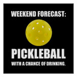 Weekend Forecast Pickleball Drinking Poster
