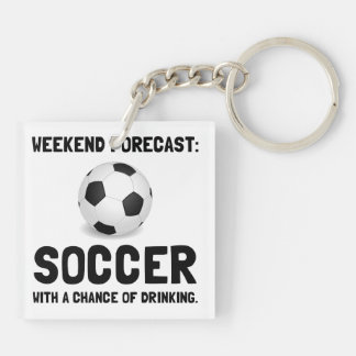 Weekend Forecast Soccer Double-Sided Square Acrylic Keychain