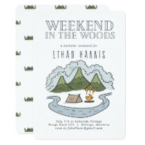 Weekend in the Woods   Bachelor Party Invitation