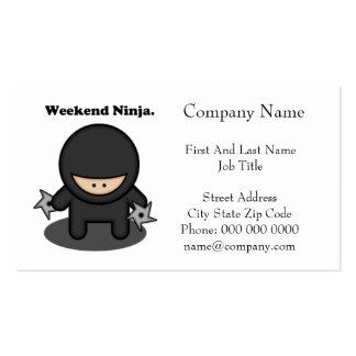 Weekend Ninja Cute Fighter Cartoon Business Card